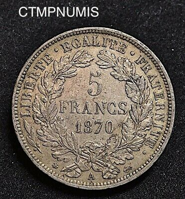 5 Francs  Argent   Ceres  1870 A  Paris