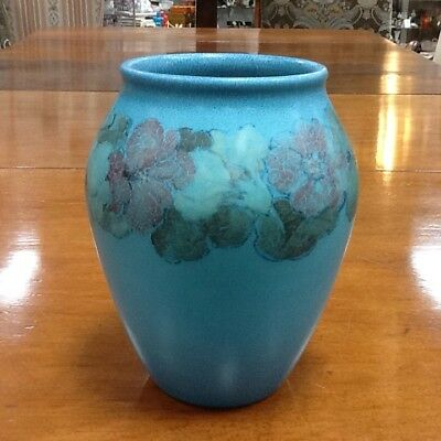 "1929 Rookwood Artist Signed Antique Art Pottery Vase 8"" American Blue Floral BIG"