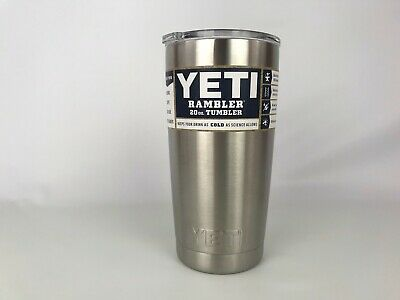 YETI Rambler 20 oz. Tumbler Stainless Steel W/ Clear Lid Double Wall