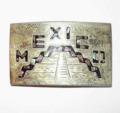 Vtg Mexico Belt Buckle Mayan Aztec Ruins Temple Blue Abalone Inlay Tooled Unisex
