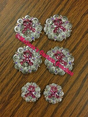 Breast Cancer Western Saddle Set Of Conchos With Screws Bling