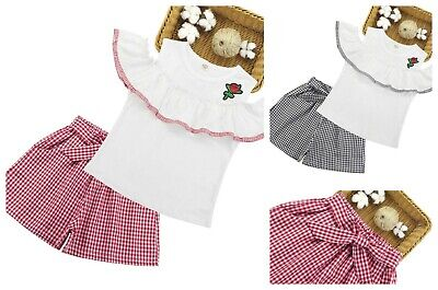 Girls Top and Shorts set 2 pcs Outfit Kids off shoulder Summer Set Age 2-13 year