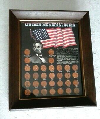 Framed Lincoln Memorial Coins Set - 32 Lincoln Pennies from 1909-1972