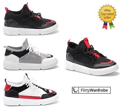 Oversized Sneakers Trainers Contrast Platform Multi LaceUp WOMENS Sports Shoes