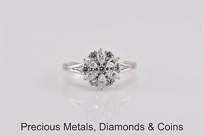 Sterling Silver Cubic Zirconia Cluster Split Band Ring 925 Sz: 5