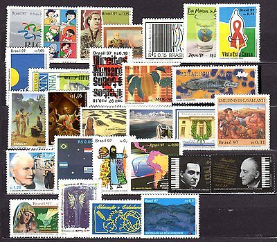 Brazil - 1997 - Complete Year - 44 stamps - 3 Souvenir Sheets-Mint Never Hinged