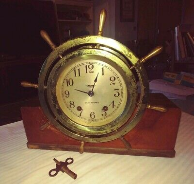 Working Vintage Brass Seth Thomas Mayflower Ships Wheel Chime Clock. Key& Base