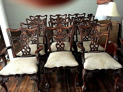 12 Antique Claw and Ball Chippendale Dining Chairs