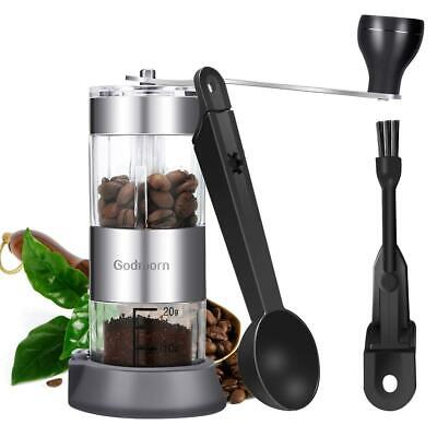 Manual Coffee Grinder Adjustable Ceramic Conical Burr Portable Mill Handheld