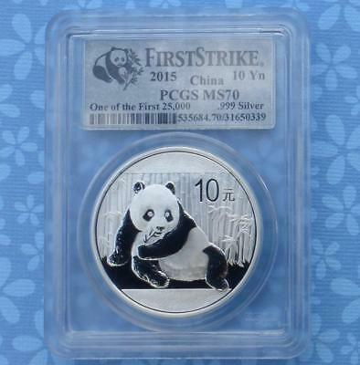 2015 PCGS MS70 China Panda 1 oz .999 Silver 10 Yuan, One of the 1st 25K Struck