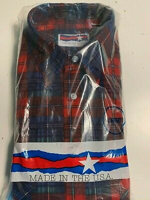 American Edition Flannel Shirt Men's Large 2 Pocket Red, Blue, White Green Plaid