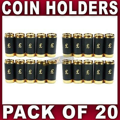 20x COIN HOLDER £1 one Pound cash change dispenser pocket taxi Black leather NEW