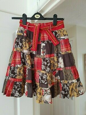 Girl's Next Pretty Skirt, Khaki Floral, Fully Lined, Age 9, Height 134 cm, VGC