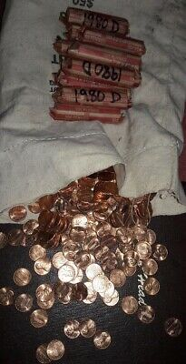 1980 D Roll Of BU Lincoln Memorial Cents From Sewn Mint Bag