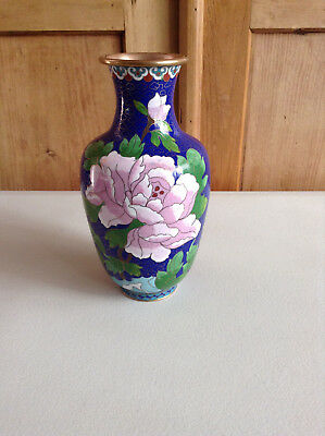 "Original Vintage Chinese Copper Cloisonne Enamel Bird and Flowers Vase 8"" Tall"
