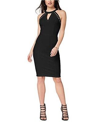 NWT XOXO Women's Black Keyhole Halter Front Sheath Dress Size L MSRP $59