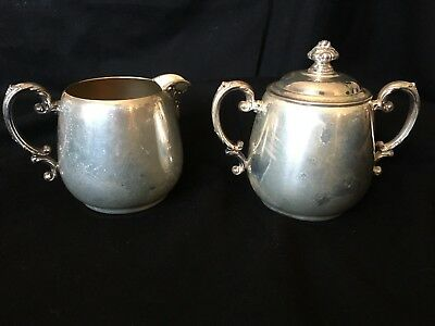 Vintage Wm Rogers Silver-Plate Cream Pitcher Sugar Bowl with Lid