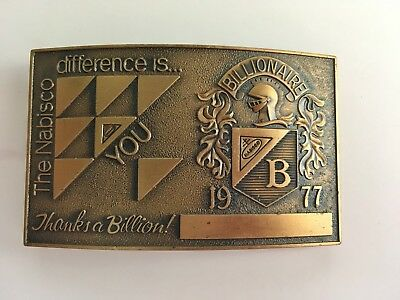 "Vintage Belt Buckle The Nabisco Difference is You Bronze-Tone 3-1/4"" Billionaire"