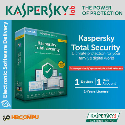 Kaspersky Total Security 1 Device | 2019 /365 Days | Download | Code Key Only