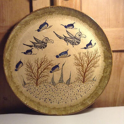 VERY RARE Vintage Middle East Ceramic Hand Painted Plate Birds & Floral Design