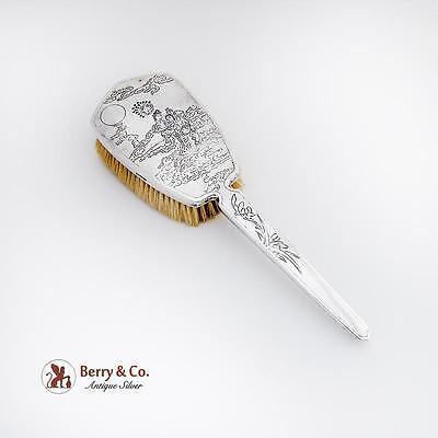 Chinese Export Silver Hair Brush Sterling Silver Engraved Figures Sui Kee 1900