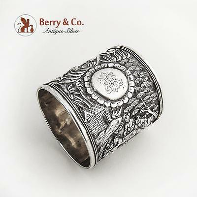 Chinese Export Silver Ornate Napkin Ring Figural Landscape Decorations 1880
