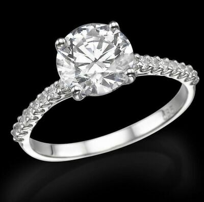 1.5 Ct D/si Round Cut Diamond Solitaire Engagement Ring 14K White Gold Enhanced