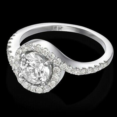 1 Ct Diamond Engagement Ring Round Cut F SI  14K White Gold Enhanced