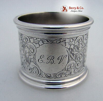 Large Bright Cut Napkin Ring W Kerr Sterling Silver 1900