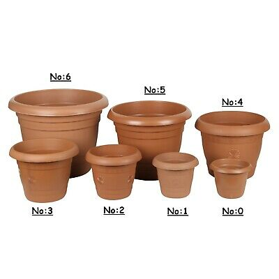 Strong Plastic Round Flower Plant Pot. Grooved Base In/Out Multibuy.