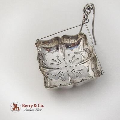 Antique Pinched Square Tea Strainer Basket Spout Insert Dominick Haff Sterling