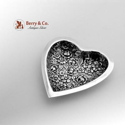 Floral Repousse Heart Dish Sterling Silver Stieff 1920