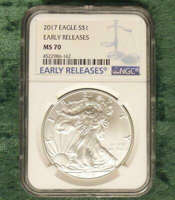 2017 NGC MS 70 American Silver Eagle Dollar Coin, Blue Early Release Label