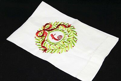 """Linen Tea Towel Holiday Embroidered Green Wreath Red Bow with """"t"""" by Mudpie"""