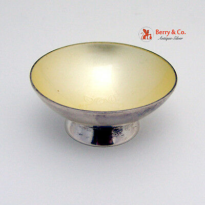 Danish Salt Cellar Cream Enamel Chaplet Sterling Silver 1960
