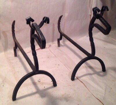 Pair Of Antique Wrought Iron Andirons In Shape Of Dogs