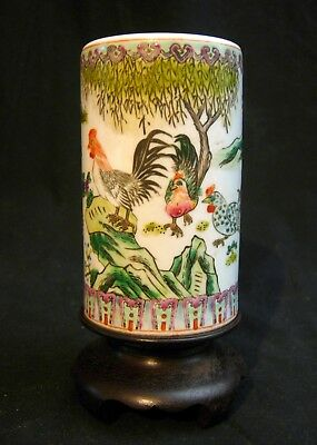 Antique Chinese Porcelain Brush Pot Hand Painted Roosters & Chickens on Stand