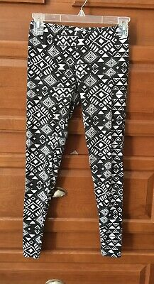 b5bcb2f688f87 Rue 21 Junior Womens Size Small Leggings Black White Geometric Jrs. Skinny