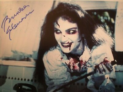 Hand Signed Bloody Photo Brinke Stevens-With Knife And Evil Smile-Scream Queen