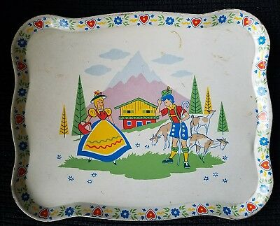 Vintage Childrens Tin Litho Tray Swizterland, Dutch Scene