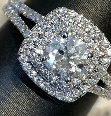 $2995 14k White Gold 1.50 CT Diamond Halo Engagement Ring .67 Round Solitaire