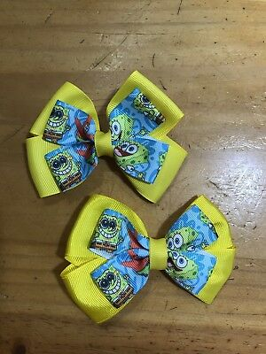"""Pair of Handmade 4"""" Spongebob Patrick Layered Hair Bows Pigtails Lined Clips #2"""