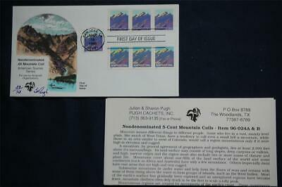 Nondenominated Mountain 5c Coil Stamps FDC Handpainted  Pugh 3/16/96 Sc#2903-04