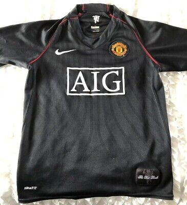 01c40cdb5 Nike Manchester United AIG Black Soccer Jersey Child Sz Large (See  Measurements)