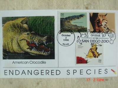 Endangered Species 32c Stamps FDC Dynamite Covers Cachet Sc#3105d-f Crocodile