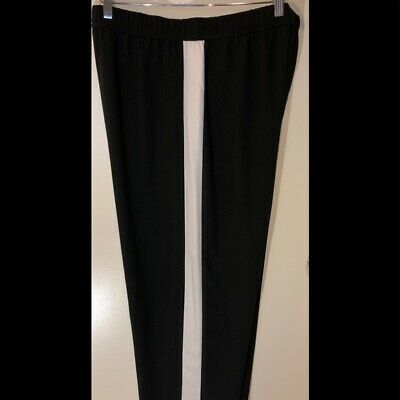 Asos Design Wide Leg Pant with Side Stripe NWT Black white 14