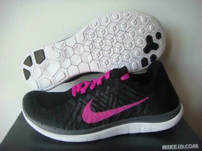 brand new 0f6f8 f2ee9 Nike Free 4.0 Flyknit Women s Running Shoe iD Black Fuschia Flash Wolf Grey  US