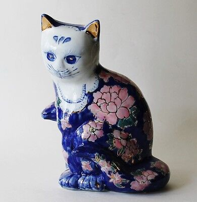 """Vintage Hand Painted Chinese Porcelain Cat Figurine Statue Floral Gilt Kitty 8"""""""