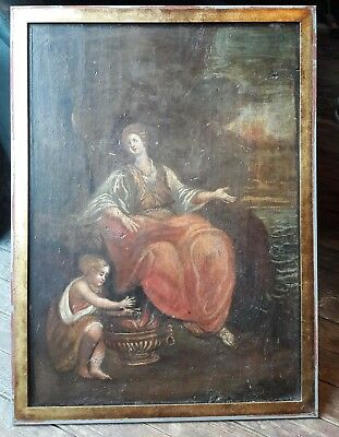 18th century European Master Painting Antique Painting ,Woman with girl