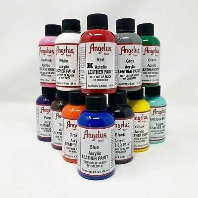 Angelus Acrylic Leather Paint Leather Vinyl - 4 Fl Oz  Set of 12 Colors Sneaker